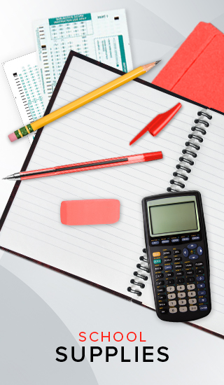 Picture of various office supplies. Click to shop School Supplies.